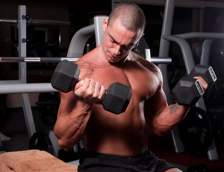 bodybuilder training his bicep in gym photo
