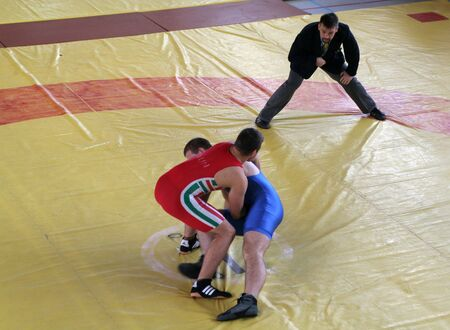 catch wrestling: KAPOSVAR - OCTOBER 21: Unknown wrestlers figth against during Hungarian  Wrestling  Championship, October 21, 2006 in Kaposvar, Hungary.