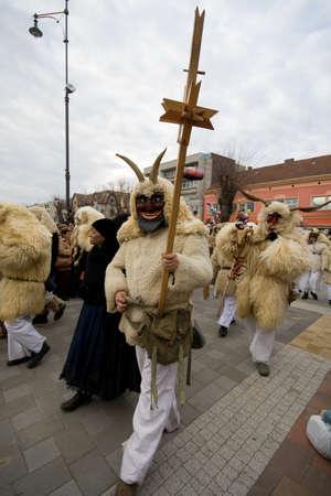 farsang: MOHACS, HUNGARY - FEBRUARY 3: Unidentified participants at the Mohacsi Busojaras Carnival  February 3, 2008 in Mohacs, Hungary.