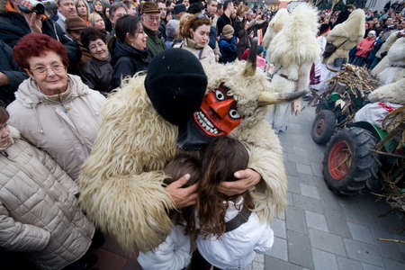 public celebratory event: MOHACS, HUNGARY - FEBRUARY 3: Unidentified participants at the Mohacsi Busojaras (it is a carnival for spring greetings) February 3, 2008 in Mohacs, Hungary.
