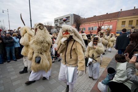 farsang: MOHACS, HUNGARY - FEBRUARY 3: Unidentified participants at the Mohacsi Busojaras (it is a carnival for spring greetings) February 3, 2008 in Mohacs, Hungary.