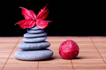 Potpourri arranged zen style on black Stock Photo - 8561715