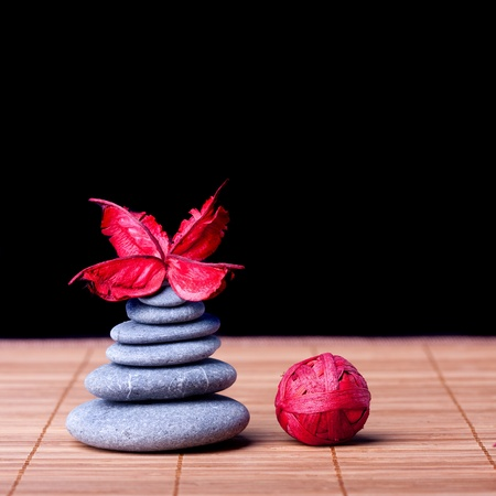 Potpourri arranged zen style on black Stock Photo - 8561716