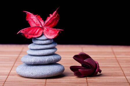 Potpourri arranged zen style on black Stock Photo - 8561710
