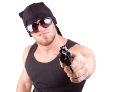 robbed: gangster shoot with gun over white Stock Photo