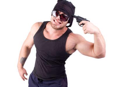 g�ngster disparar con arma en blanco Foto de archivo - 8878471
