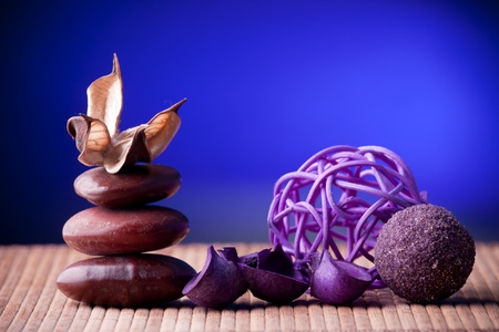 Purple Potpourri arranged zen style Stock Photo - 8958623