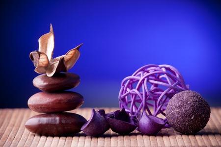 Purple Potpourri arranged zen style Stock Photo - 8958623