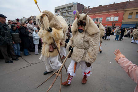 public celebratory event: MOHACS, HUNGARY - FEBRUARY 17: Unidentified participants at the Mohacsi Busojaras (it is a carnival for spring greetings) February 17, 2007 in Mohacs, Hungary.