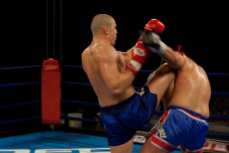 PECS - JULY 17:Unknown fighters participate the RFC kick box championship July 17, 2007 in Pecs, Hungary  Stock Photo - 9082166