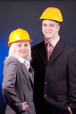 young engineer couple in studio photo