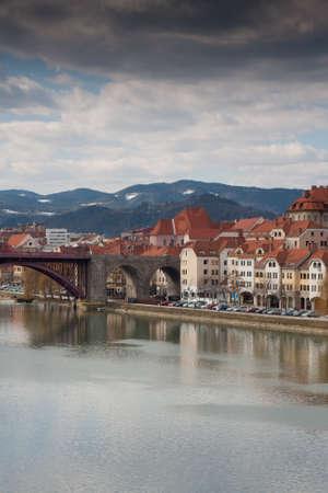 Maribor in Slovenia with river Drava photo