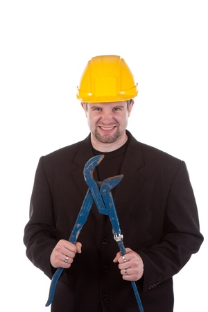 young engineer with big clamp photo