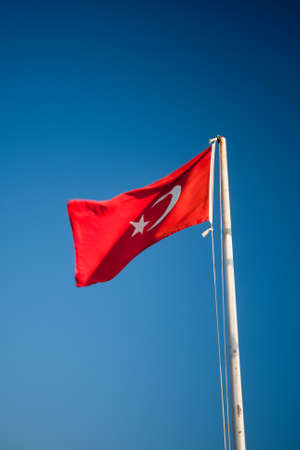 flaunt: turkish flag with blue sky Stock Photo