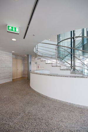 modern interior with stairs and door