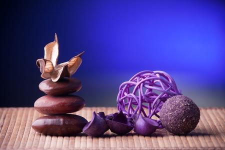 Purple Potpourri arranged zen style Stock Photo - 9852119