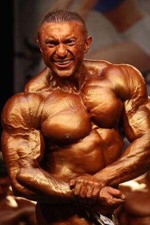 BUDAORS, Ungheria - 11 giugno: Chernous Pavlo partecipa nella categoria + 100 kg WBPF bodybuilding campionato europeo il 11 giugno 2011 a Budaors, Ungheria