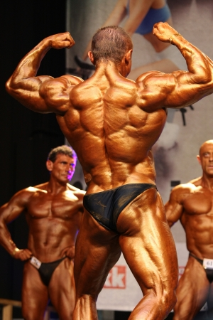 Stuttgart, Ungarn - Juni 11: Chernous Pavlo beteiligt WBPF Bodybuilding-Europameisterschaft + 100 kg Kategorie am 11. Juni 2011 in Stuttgart, Ungarn Editorial