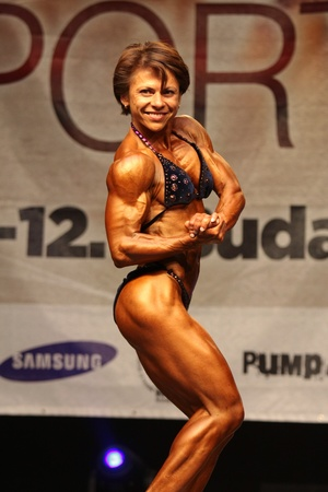 BUDAORS, HUNGARY - JUNE 11: Rosmarytsia Oksana participates in WBPF bodybuilding European championship womens bodybuilding category on June 11, 2011 in Budaors, Hungary