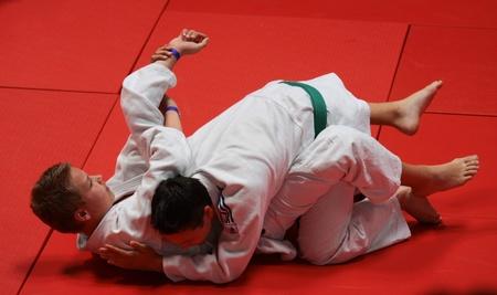 BUDAOURS, UNGARN - 11. JUNI: Unbekannte mans nimmt an Sportfest teil, bilden ein Judotraining am 11. Juni 2011 in Budaors, Ungarn Standard-Bild - 9768336