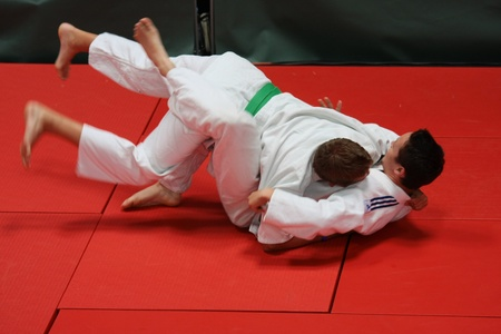 dojo: BUDAORS, HUNGARY - JUNE 11: Unknown mans participates in Sportfest, make a judo traning on June 11, 2011 in Budaors, Hungary