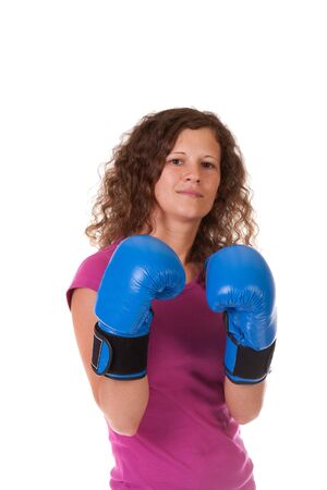 beautiful young woman in pair of boxing gloves Stock Photo - 9852217