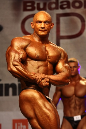 BUDAORS, HUNGARY - JUNE 11: Kokeny Bela participates in WBPF bodybuilding European championship -100 kg category on June 11, 2011 in Budaors, Hungary
