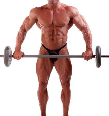 Bodybuilder l'exercice devant un fond blanc Banque d'images