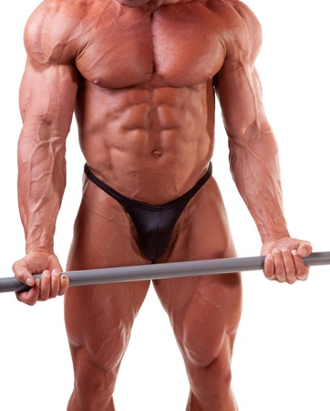 six packs: Bodybuilder exercising in front of white background Stock Photo