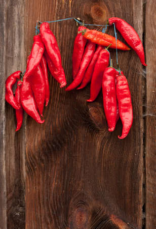 Red Chili Peppers hanging outdoor