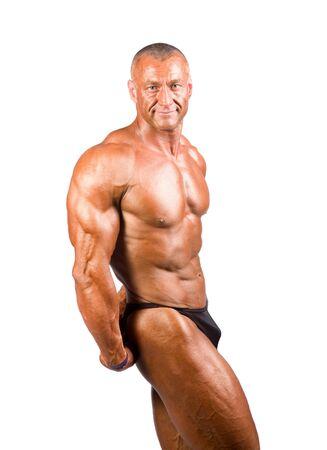 tricep: bodybuilder posing over white background