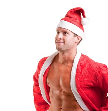 muscular santa claus show his abs