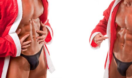 muscular santa claus show his abs photo