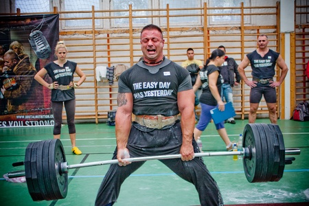PECS - OCTOBER 16: Unknown man participates in Brutal Challenge power lifting championship October 16, 2010 in Pecs, Hungary.