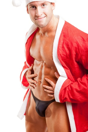young muscular santa over white Stock Photo