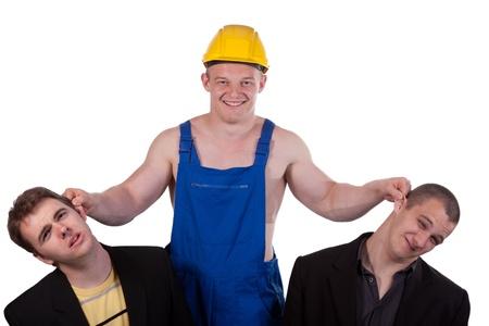 taskmaster: Businessmans and taskmaster over white background Stock Photo