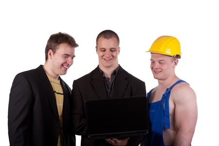 Businessmans and taskmaster over white background photo