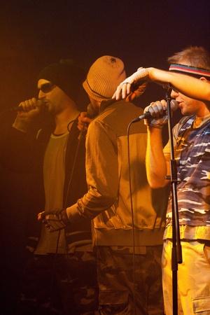 PECS, HUNGARY - APRIL 26: Belga in a concert. Belga is a Hungarian hip hop band. April 18, 2007 in Pecs, Hungary.