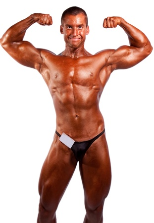 amateur: amateur bodybuilder posing over white background