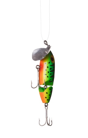 rapala: fishing lure -floating wobbler hanging in front of white background