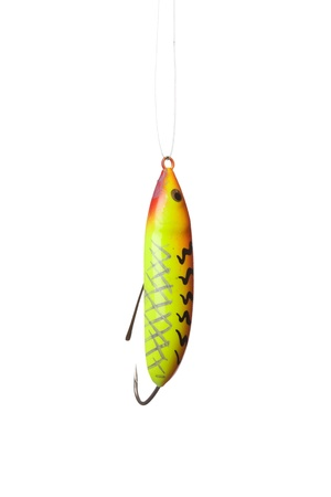 allurement: fishing lure -floating wobbler hanging in front of white background