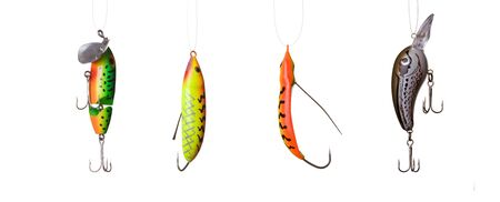 fishing lures -floating wobblers hanging in front of white background Stock Photo - 12668084