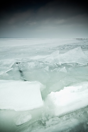 icy lake Balaton in winter photo