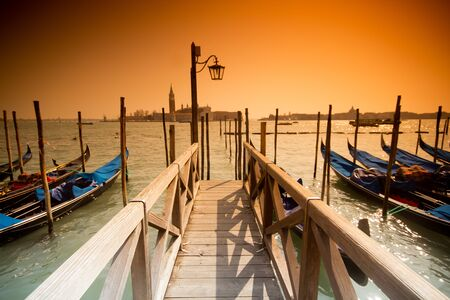 beautiful Venice, Italy with gondolas -colored photo, with added vignetting photo