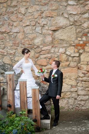 beautiful young wedding couple outdoor Stock Photo - 12893645