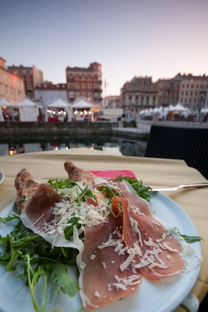 ruccola: Ham with ruccola in Trieste Stock Photo