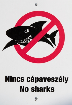 no swimming: No sharks sign in beach Stock Photo
