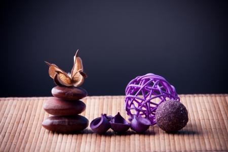 Purple Potpourri arranged zen style Stock Photo - 15609146