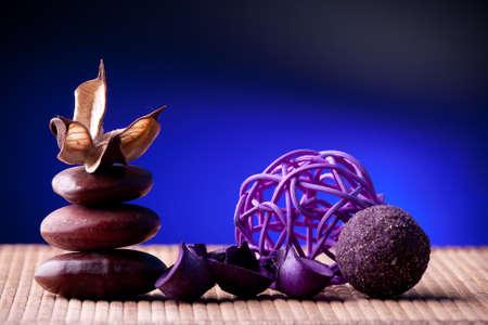 Purple Potpourri arranged zen style Stock Photo - 15609145