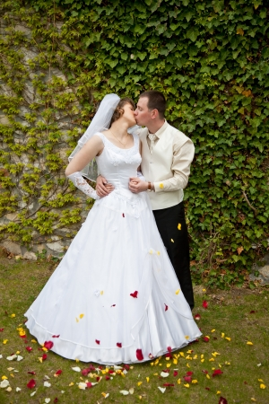 beautiful young wedding couple outdoor Stock Photo - 16025170